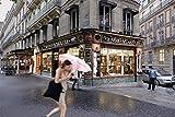 Paris, Photography, Rain, young woman, pink umbrella, Shakespeare, Stationary store, shop, Blvd. Haussemann, window washer, France, Europe, Art Print, Wall Art, Gift, Decor, Photo