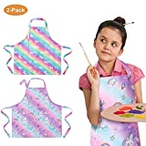 PASHOP 2 Pack Kids Unicorn Apron with Pocket Child Adjustable Rainbow Chef Aprons Kitchen Aprons Children Artists Aprons for Cooking Baking Painting (Large/6-8 Years)