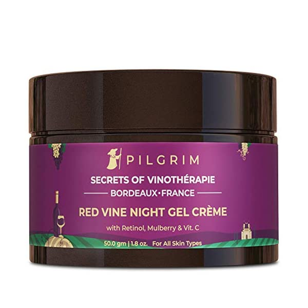 Pilgrim Anti Ageing Red Vine Night Gel Creme with Retinol, Mulberry & Vit C For Glowing Skin, Skin Repair, Dry, Oily… 2021 June ✅ HELPS TO REPAIR SKIN: Red Wine Night Creme Gel is thoughtfully crafted to work synergistically with Night's natural repair process and to enhance it. This Night Creme Gel is formulated with the best of ingredients that support repair and regeneration, to keep aging at bay! ✅ DEEP MOISTURIZATION & NOURISHMENT FOR GLOWING SKIN: This french beauty product - Pilgrim night cream is a perfect blend of the best certified natural ingredients. Red Vine Extracts and Vitamins A-C-E combine to provide intensive and long lasting nourishment that rejuvenates dry, tired skin and offers a premium, deeply moisturized feeling. The ultra-hydrating cream with a gel balm texture provides the skin with bursts of moisture through the night to visibly plump the skin and smooth out lines. ✅ SUITABLE FOR DRY, NORMAL, OILY, COMBINATION & SENSITIVE SKIN: Formulated using only the purest ingredients, this night creme gel is ideal to be used for all skin types by both men and women. Enriched with high level of minerals, it revitalizes, renews and hydrates the skin, resulting in a radiant, glowing complexion!