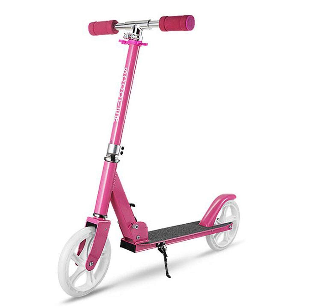 JBHURF Children's Scooter, Student Pedal Scooter, Two-Wheeled Children's Scooter with one-Second Folding Function, Adjustable Height Scooter for Children Over 8 Years Old (Color : Pink)