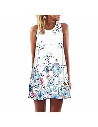 M-Egal Blue Flowers Butterfly Printed Dress Sleeveless Loose Summer Women Casual Beach Dress