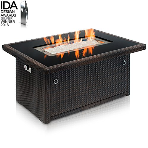 Outland Living Series 401 Brown 44-Inch Outdoor Propane Gas Fire Pit Table, Black Tempered Glass Tabletop w/Arctic Ice Glass Rocks and Resin Wicker Panels, Espresso Brown/Rectangle (Switch Ignition Burner)