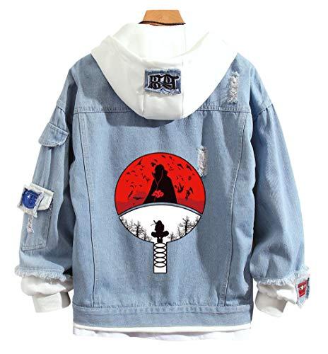 YOYOSHome Anime Naruto Hoodie Uchiha Sasuke Sweatshirt Jacket Denim Hooded Adult Cosplay Pullovers