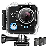 NEXGADGET 4K WIFI Action Camera 16MP Resolution 30M Waterproof Sport Cam 170 Degree Wide-Angle Lens 2 Rechargeable Batteries Including 19 Accessories