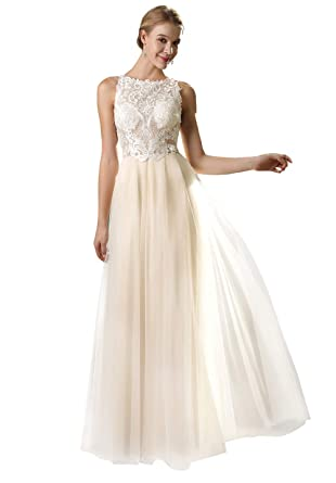 83ce7dfaa8fb Women's Sleeveless Lace Wedding Dress Long Boat Neck Bride Party Bridal  Gowns Champagne