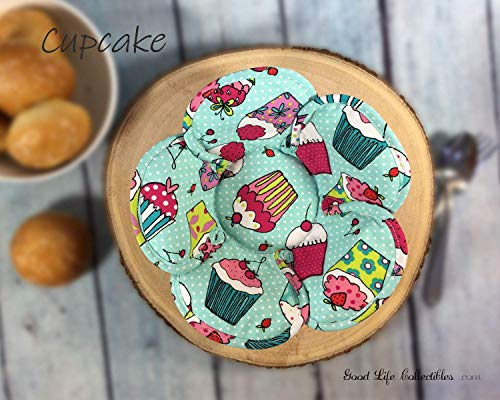 SET Microwave Bowl Cozy, Cup Cake - Pink polka dot, Reversible Handmade Original Unique