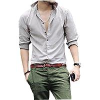 EElabper Camisas de manga larga para hombre, estilo informal, de algodón, para verano, ligeras, para hombre