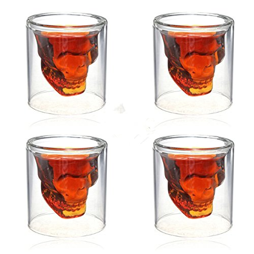 Crystal Skeletal Skull Wine Glass Cup ShineMe Pirate Shot Drink Cocktail Gothic Goblet Bones Skull Coffee Beer Mug Whiskey Cup Evil for Home/Club/Pub Party Celebration Decor 3oz (4 (Spirit Halloween Costume Coupon)