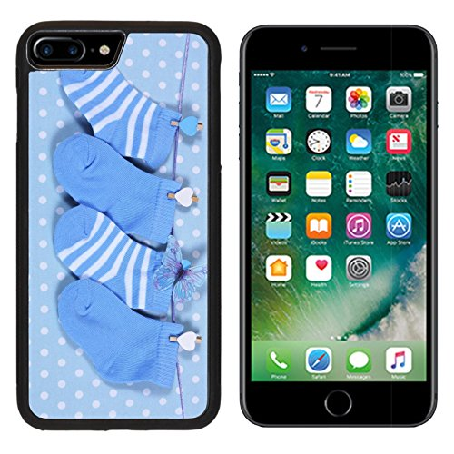 Blu Hanging (MSD Premium Apple iPhone 7 Plus Aluminum Backplate Bumper Snap Case Baby boy nursery blue socks and butterfly hanging from pegs on a line against a blue IMAGE 28242894)