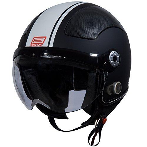Origine O528B Pilota 3/4 Helmet with Blinc Bluetooth (Flat Black, Small) (White Gara) (Vespa Helmet White)