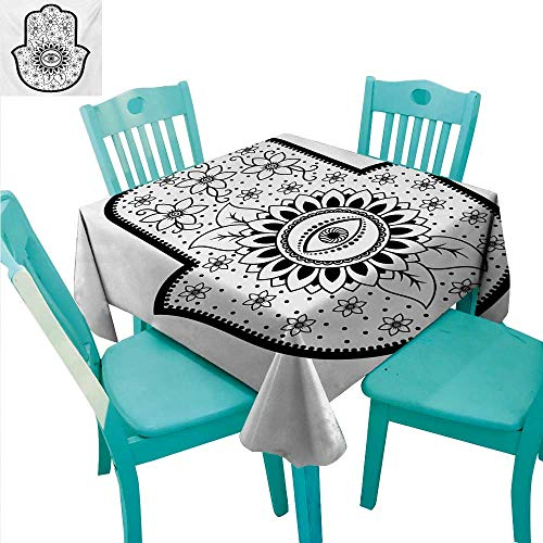 - Hamsa Decorative Textured Fabric Tablecloth Blooming Traditional Lily Flowers with All Seeing Eye Floral Curls Ethnic Charm Waterproof/Oil-Proof/Spill-Proof Tabletop Protector 54