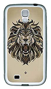 Galaxy S4 Case, Personalized Custom Protective Soft Rubber TPU White Edge Lion Tattoo Case Cover for Samsung Galaxy S4 I9500