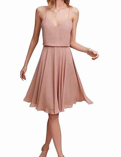 3a22ec43f03 YOUTODRESS Women s V-Neck Short Chiffon Bridesmaid Dress Strap Homecoming  Prom Gowns at Amazon Women s Clothing store