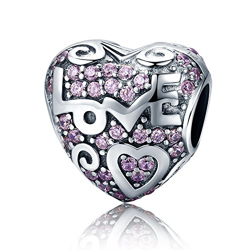 XingYue 925 Sterling Silver Heartbeat Charm Bead Red Enamel Love Heart Charm Love In My Heart Knot Charm Beads (Love birthstone bead charm) -