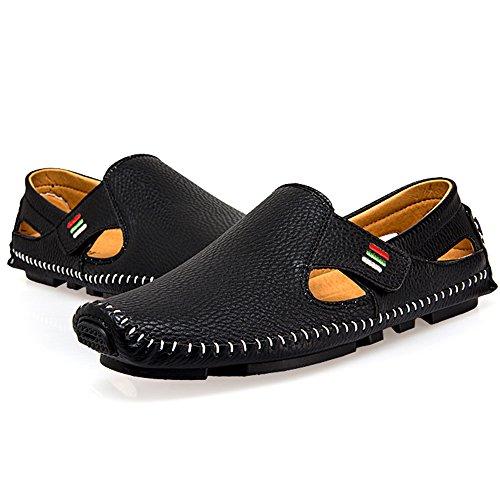 Sunrolan Heren Echt Zacht Leer Casual Slip-on Uitgesneden Loafer Flats Rijden Schoenen Black2