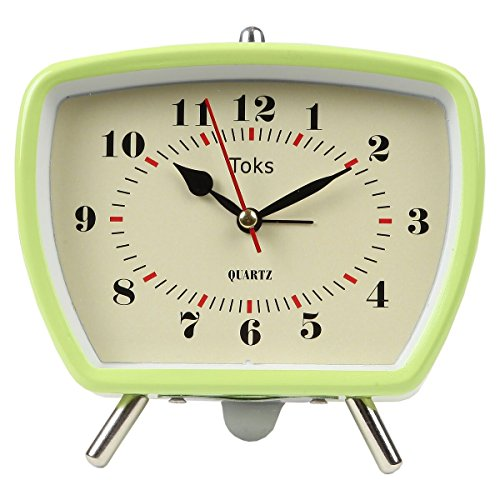 Lilys Home Vintage Retro Inspired Analog Alarm Clock, Looks Like Miniature Television Set with Silver Legs, Small Stylish Clock Adds Character to Any Bedroom, Green (5 1/2 Tall x 5 3/4 Wide)