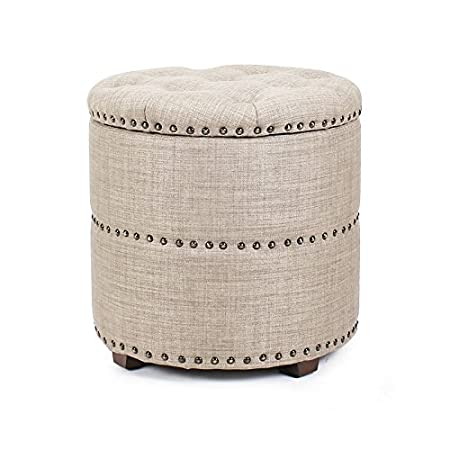 Decent Home Nailhead Round Tufted Storage Ottoman Toy Chest Box Footrest Stool Coffee Table Lift Top Blue