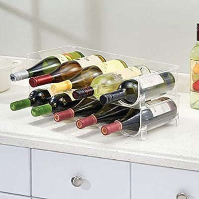 mDesign Botellero para nevera o vinoteca - Botellero apilable para ...