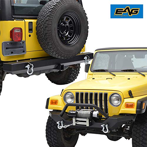 (EAG Off Road Front Bumper with Winch Plate and Rear Bumper Combo for 97-06 Jeep Wrangler TJ)