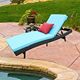 Do4U Adjustable Patio Outdoor Furniture Rattan Wicker Chaise Lounge Chair Sofa Couch Bed with Turquoise Cushion and Table (3777-TRQ-T+C)