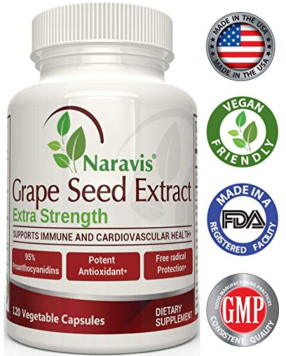 Naravis Grape Seed Extract – 400 mg – 120 Veggie Capsules – 95% Proanthocyanidins – All Natural – Non-GMO Antioxidant Supplement
