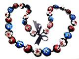 Hawaiian Style Kukui Nut Lei, Hand Painted Multi-color Hibiscus 32 Inches