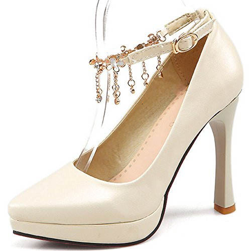 High LongFengMa Shoes Pointed Heeled Strap Ankle Toe Women Chain Heel Ivory Fashion Pumps qwAUzqT