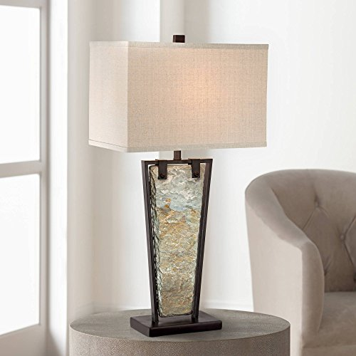 Zion Modern Table Lamp Tapered Natural Slate Bronze Metal Rectangular Shade for Living Room Family Bedroom Bedside - Franklin Iron ()