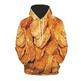 Men's Autumn Fashion Tops 3D Printing Hoodie Loose Long Sleeve Sweatshirt Orange