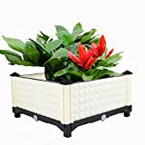 UNHO Rectangle Raised Garden Bed Vegetable Flowers Planter Patio Backyard Plant Container 16'' x 16'' x 9'' Three Combinations