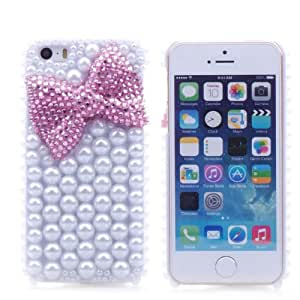 Sunboo Series Handmade Pink Bow-knot with Full Pearl Luxury Designer Bling 3D Special Crystal Case Cover for Apple iphone 5 5S White