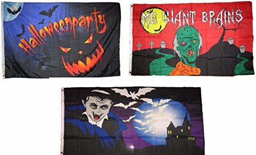 ALBATROS 3 ft x 5 ft Happy Halloween 3 Pack Flag Set #76 Combo Banner Grommets for Home and Parades, Official Party, All Weather Indoors Outdoors