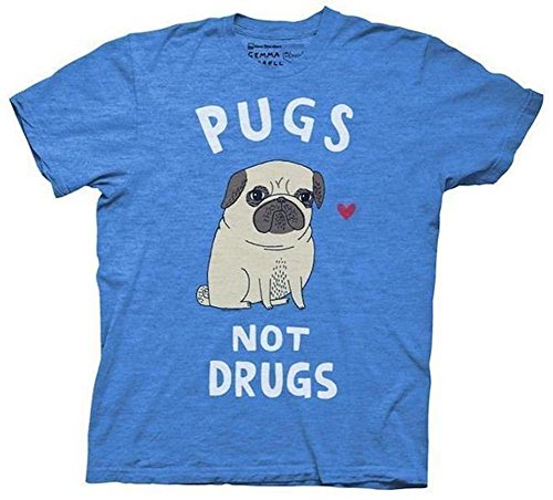 Pugs Not Drugs Mens Royal Heather T-shirt L