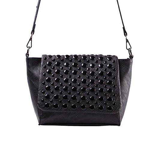 Kamabags Oval Fringe Handbag Shoulder Rivet Bags Bag For Gril Women Office Lady (black) (one Size Black)
