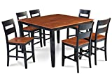 Trithi Furniture Fullerton Extendable Table and Wood Seat Chair in Black Counter Height with Cherry Top Color Set of 7