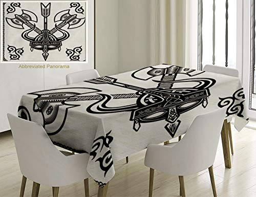 Unique Custom Cotton And Linen Blend Tablecloth Viking Helmet With Horn Arrow Axe Antique War Celtic Style Medieval Battle Culture Art Prints Black WhTablecovers For Rectangle Tables, 86 x 55 Inches (Cloth Viking Helmet)