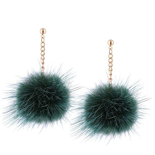 tempérament oreille pendentif boule d'oreilles de long Green mignonne stud boucles Lady petite cheveux pendentif Aq8816