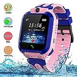 Kids Waterproof Smart Watch, SZBXD GPS Tracker Phone SOS Anti-Lost Alarm Sim Card Slot Touch Screen Voice Chat Smartwatch Birthday for Children Girls Boys (Pink)