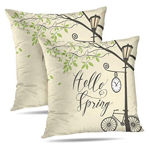 WAYATO Set of 2 Decorative Pillow Covers Banner Hello Spring Landscape Green Tree Park Bicycle Clock Lamp Branch Double-Sided Pattern Invisible Zipper Applies to Living Room -