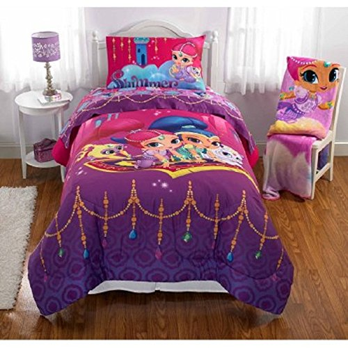 5 Piece Girls Disney Shimmer and Shine Serial Theme Comforter Full Set, Cute Featuring Characters Shimmer, Shine, Tala, Nahal Print, Animated Movie, Reversible Bedding, Vibrant Colors Purple, Pink