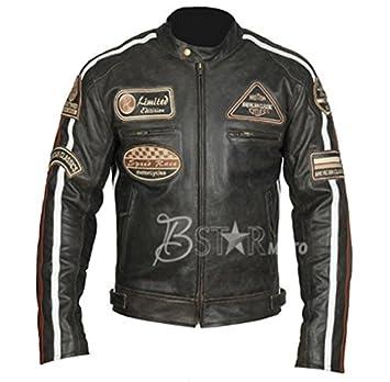 Bstarmoto Chaqueta De Cuero Para Moto, Chaqueta Con Protecciones (XL): Amazon.es: Coche y moto