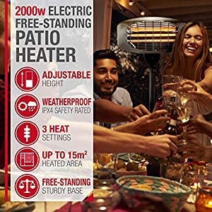 NETTA Patio Heater Electric 2000W – FreeStanding Water Resistant, Outdoor Garden Heating, Adjustable Height & Temperature Control.