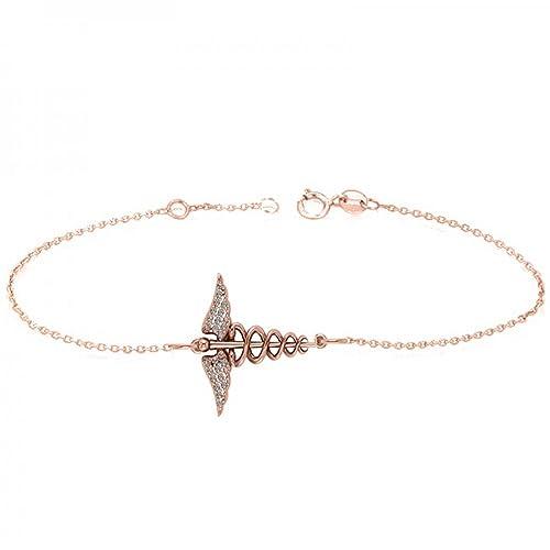 a0f08838e Amazon.com: Allurez Diamond Charm Caduceus Medical Symbol Ladies Bracelet  14k Rose Gold (0.13ct): Jewelry