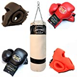 Torino Boxing Gloves 2 Pairs Of Pro 14oz 2 Pairs Of Head Gear & Black Heavy Duty Canvas Punching Bag