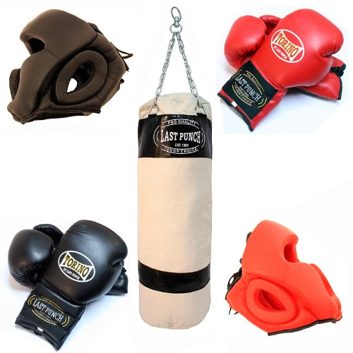 Torino Boxing Gloves 2 Pairs Of Pro 14oz 2 Pairs Of Head Gear & Black Heavy Duty Canvas Punching Bag by Life gears