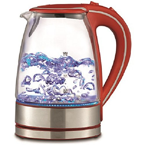 Royal 1.7L Cordless Glass Electric Hot Water Tea Kettle Blue LED Stainless Steel (50 oz, Red)