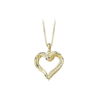 Amazon 14k yellow gold 14 ct diamond heart pendant necklace 14k yellow gold 14 ct diamond heart pendant necklace aloadofball Choice Image