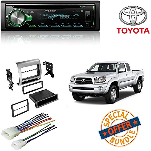 PIONEER 1DIN DEH-S5000BT CAR MP3 CD STEREO W/ USB AUX-IN BLUETOOTH & PANDORA+ Toyota Tacoma Double Din Car Stereo Radio Installation Dash Mount Kit Harrness (Pioneer Card Stereo)
