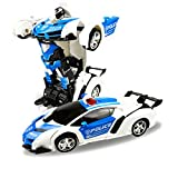 car robot transformer - FIGROL Transform Car Robot, Robot Deformation Car Model Toy for Children, Transforming Robot Remote Control Car with One Button Transformation & Realistic Engine Sounds & 360 Speed Drifting 1:18 Scale