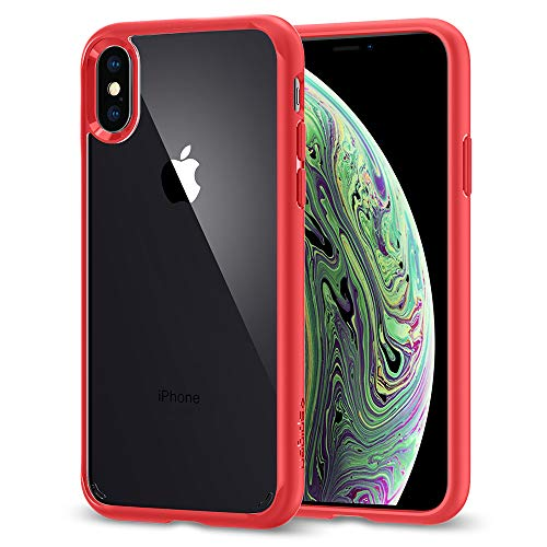 Spigen Ultra Hybrid Designed for Apple iPhone Xs Case (2018) / Designed for Apple iPhone X Case (2017) - Red Clear Red Phone Case